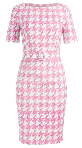 Celine Dress Boat Neck 1/2 Sleeve Cotton Dobby Stretch (Pablo Houndstooth)