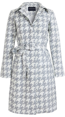 Parisienne Coat Long Sleeve Cotton Double Twill (Pablo Houndstooth)
