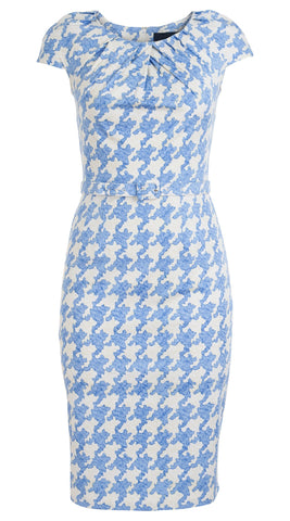 Sabrina Dress Round Neck Cap Sleeve Cotton Dobby Stretch (Pablo Houndstooth)