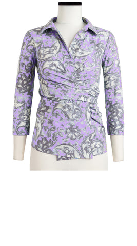 Hilton Shirt 3/4 Sleeve Cotton Stretch (Paisley Pastel)