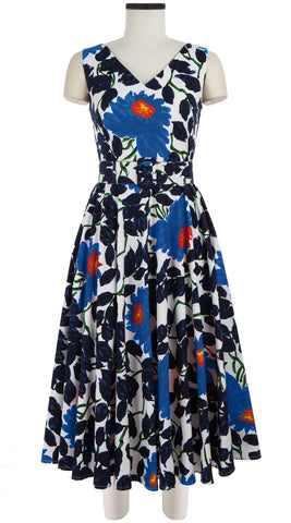 April Dress Open V Neck Sleeveless Midi Length Cotton Stretch (Picasso Flower)