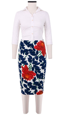 Chloe Skirt Cotton Dobby Stretch (Picasso Flower)