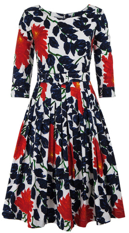 Florance Dress Boat Neck 3/4 Sleeve Long Length Cotton Stretch (Picasso Flower)