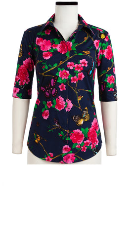 Katharine Shirt 1/2 Sleeve Cotton Stretch (Rose Butterfly)