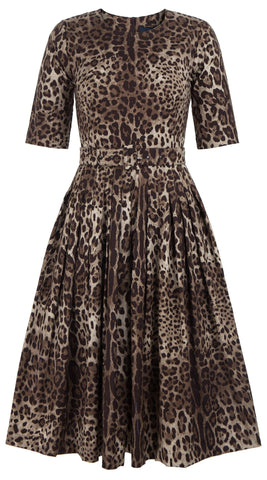 Florance Dress Crew Neck 1/2 Sleeve Cotton Stretch (Safari Leopard)