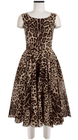 Aster Dress Boat Neck Mini Cap Sleeve Cotton Musola (Safari Leopard)
