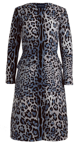 Lily Coat Crew Neck 3/4 Sleeve Cotton Double Twill (Safari Leopard)