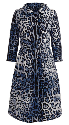 Rosetta Coat Peterpan Collar 3/4 Sleeve Cotton Double Twill (Safari Leopard)