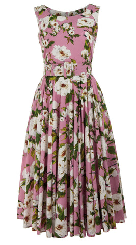 Aster Dress Boat Neck Mini Cap Sleeve Midi Length Cotton Lawn (Sharon Rose Bright)