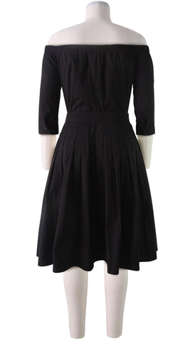 3/4 Sleeve | Solid | Black | Back | Dress By Samantha Sung