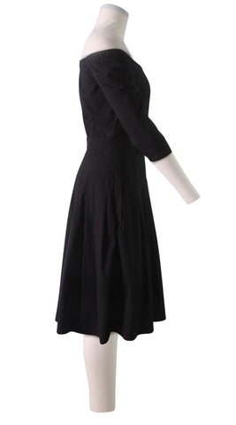 3/4 Sleeve | Solid | Black | Right | Dress By Samantha Sung