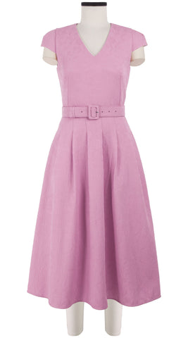 Megan Dress V Neck Short Cap Sleeve Midi Length Silk Poly Jacquard (Solid Jacquard Pastel)