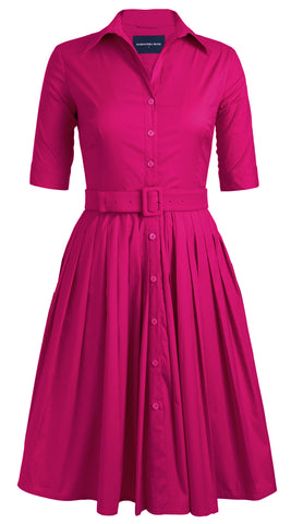 Audrey Dress #2 Shirt Collar 1/2 Sleeve Cotton Stretch (Solid Bright)