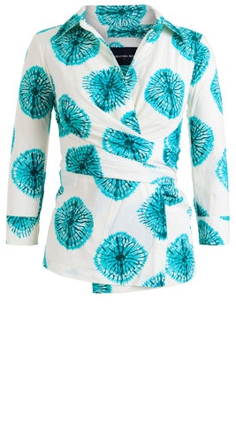 Hilton Shirt 3/4 Sleeve Cotton Stretch (Spider Shibori)