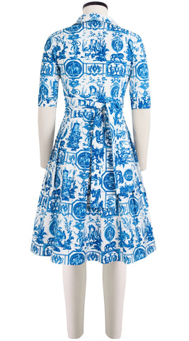 Audrey Dress #1_Toile du Jour in White Sea Blue_Cotton Stretch_Shirt Collar 1/2 Sleeve