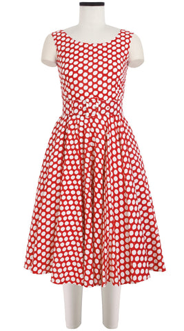 Aster Dress Boat Neck Mini Cap Sleeve Cotton Lawn (Tropical Dots)
