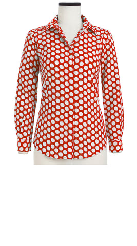 Katharine Shirt Long Sleeve Cotton Stretch (Tropical Dots)