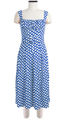 Jennifer Dress #2 Dirndl Neck Sleeveless Viscose Jersey (Tropical Dots)
