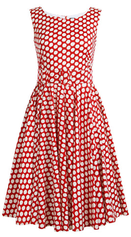 April Dress Boat Neck Mini Cap Sleeve Midi Cotton Stretch (Tropical Dots)