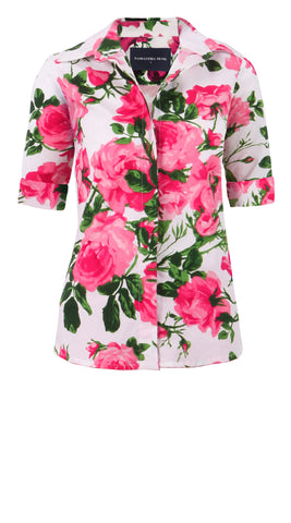 Katharine Shirt 1/2 Sleeve Cotton Stretch (Valentine Rose Pastel)