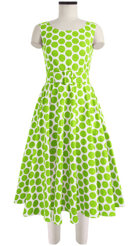April Dress Boat Neck Mini Cap Sleeve Midi Cotton Stretch (Warhol Dots Pastel)
