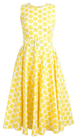 April Dress Crew Neck Sleeveless Midi Cotton Stretch (Warhol Dots Pastel)