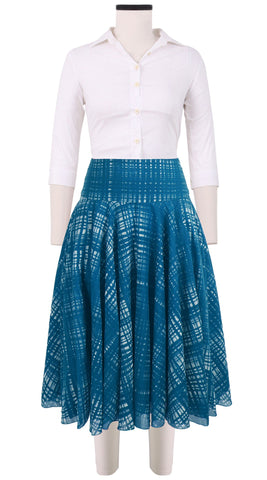 Aster Skirt Midi Cotton Musola (Watercolor Check)