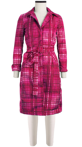 Parisienne Coat Long Sleeve Silk Poly (Watercolor Check)