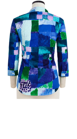 Katharine Shirt 3/4 Sleeve Cotton Stretch (Watercolor Klee)