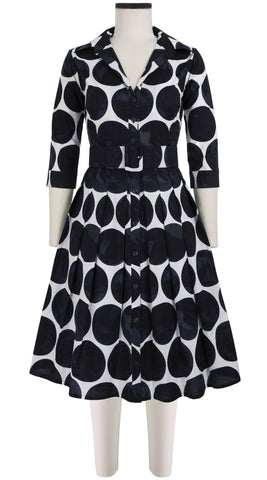 Audrey Dress #1_Whitney Dots in White Black_Cotton Stretch_Shirt Collar 3/4 Sleeve