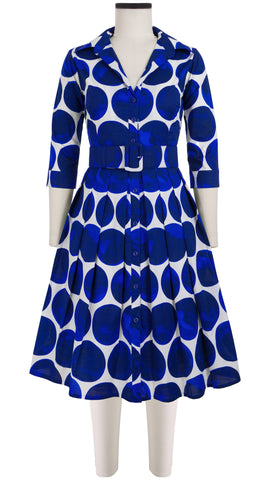 Audrey Dress #1_Whitney Dots in White Cobalt Blue_Cotton Stretch_Shirt Collar 3/4 Sleeve