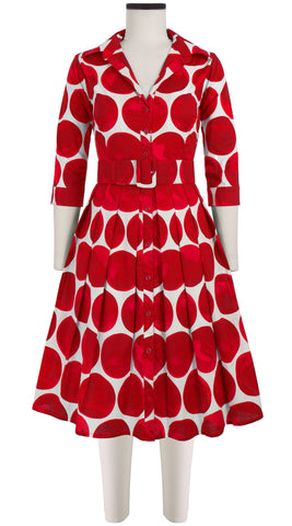 Audrey Dress #1_Whitney Dots in White Indian Red_Cotton Stretch_Shirt Collar 3/4 Sleeve