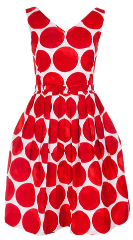 Rachel Dress Open V Neck Sleeveless Cotton Stretch (Whitney Dots)