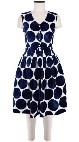 Claire Dress V Neck Sleeveless Cotton Stretch (Whitney Dots)