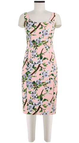 Julienne Dress Open U Neck Sleeveless Cotton Dobby Stretch (Wood Rose)