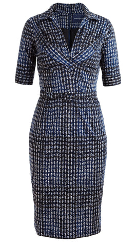 Laudine Dress V Collar Pleats 1/2 Sleeve Cotton Stretch (Woodbrook Check)