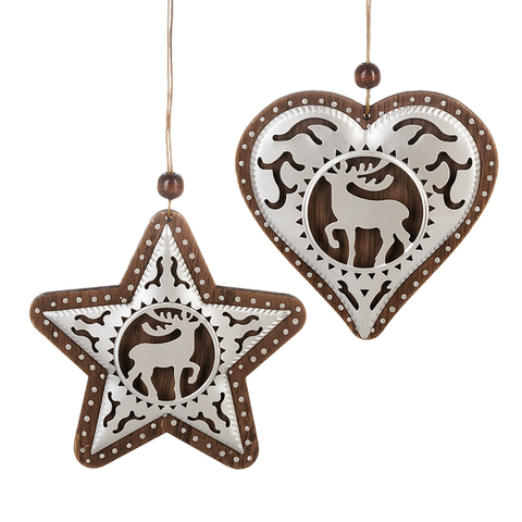 Tin & Wood Reindeer Ornament