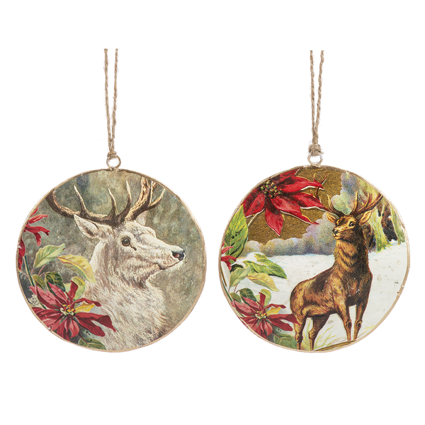 Winter Stag Disk Ornament