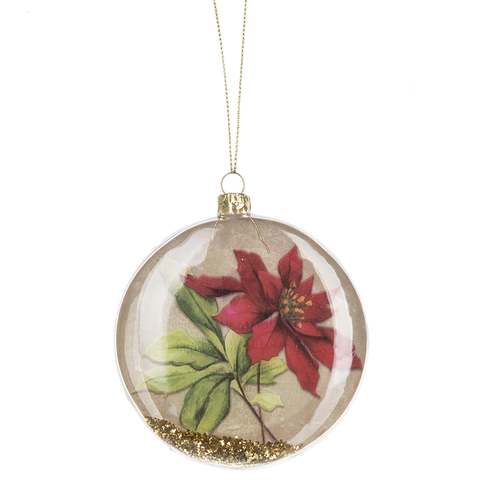 Poinsettia Disk Ornament