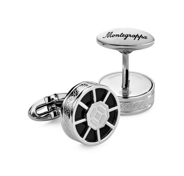 Wheel Cufflinks - Steel & Black Inlay
