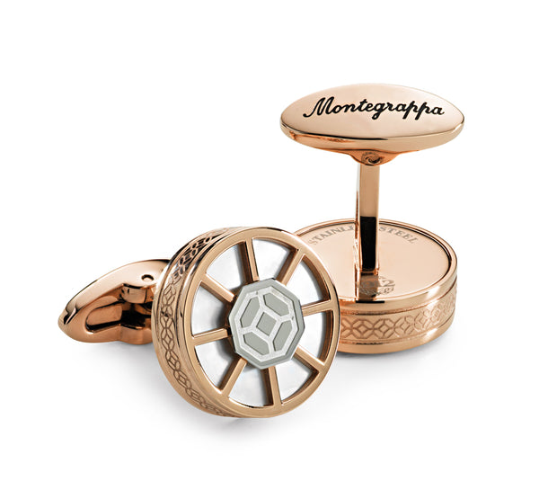 Wheel Cufflinks - Rose Gold & Steel, White Inlay