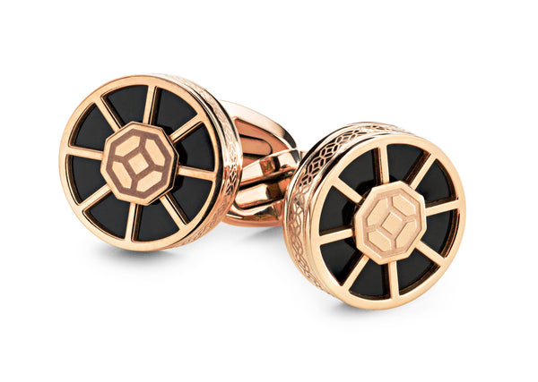 Wheel Cufflinks - Rose Gold & Black Inlay