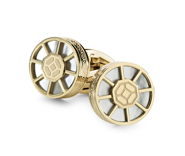 Wheel Cufflinks, IP Yellow Gold, White Inlay