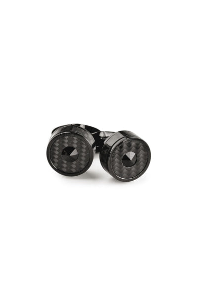 Classic Filigree Cufflinks, Black PVD , Carbonfibre Inlay & Black Glass