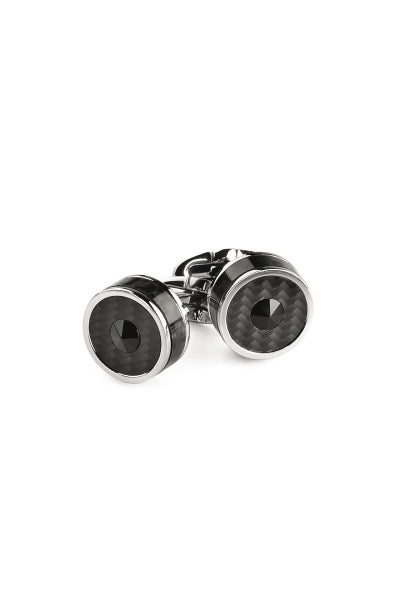 Classic Filigree Cufflinks, Steel,  Carbonfibre Inlay & Black Glass