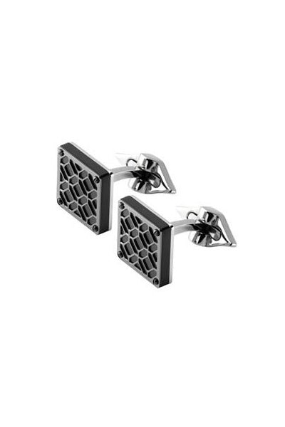 Filigree Square Cufflinks, Gun Metal PVD