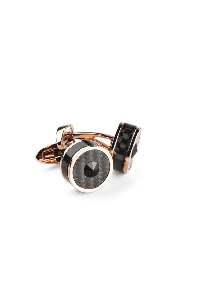 Classic Filigree Cufflinks, Rose Gold  PVD, Carbonfibre Inlay & Black Glass