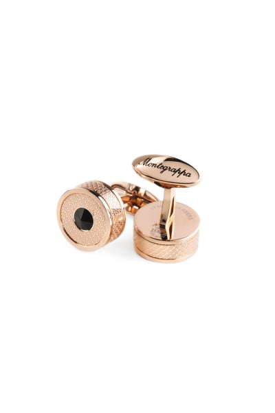 Classic Filigree Cufflinks, Rose Gold  PVD, Etched Inlay & Black Glass