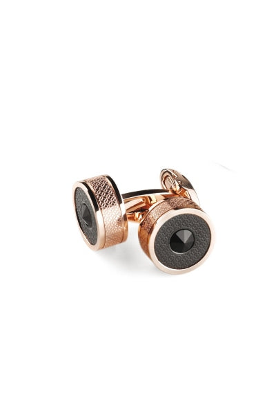 Classic Filigree Cufflinks, Rose Gold  & Black PVD, Etched Inlay & Black Glass