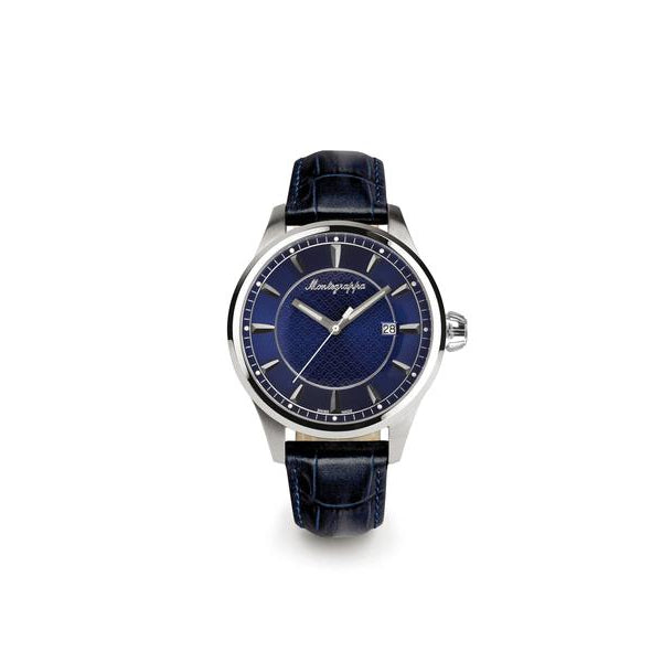 Fortuna Three Hands Watch - Black Leather Strap & Blue Dial